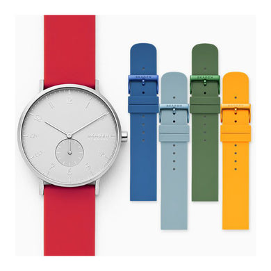 Skagen Men's Aaren Kulor Three-Hand Multi Colored Silicone 41mm Watch Strap Set SKW1120