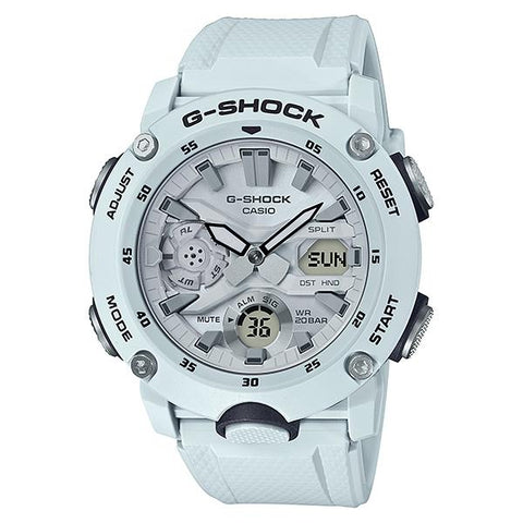 Casio G-Shock Carbon Core Guard Structure White Resin Band Watch GA2000S-7A GA-2000S-7A | Watchspree