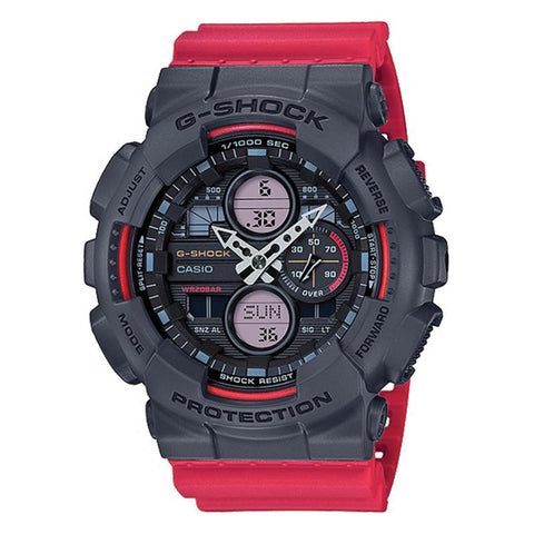 Casio G-Shock Standard Analog-Digital GA series Red Resin Band Watch GA140-4A GA-140-4A | Watchspree