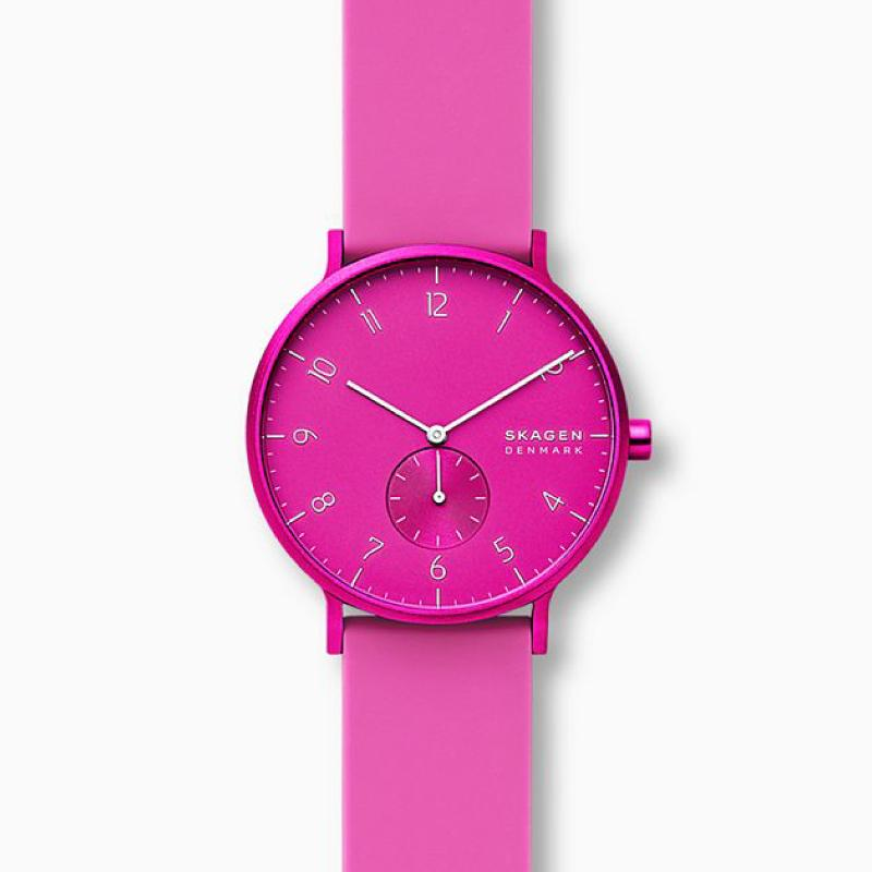 Skagen Aaren Kulor Pink Silicone 41mm Watch SKW6543