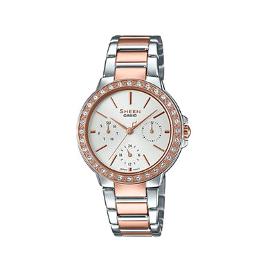 Casio Sheen with Swarovski® Crystals Two-Tone Stainless Steel Band Watch SHE3069SPG-7A SHE-3069SPG-7A
