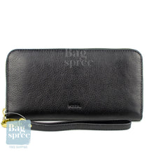 Load image into Gallery viewer, Fossil Emma RFID Large Zip Clutch Black Leather Wallet Black SL7153001