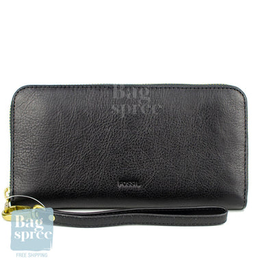 Fossil Emma RFID Large Zip Clutch Black Leather Wallet Black SL7153001