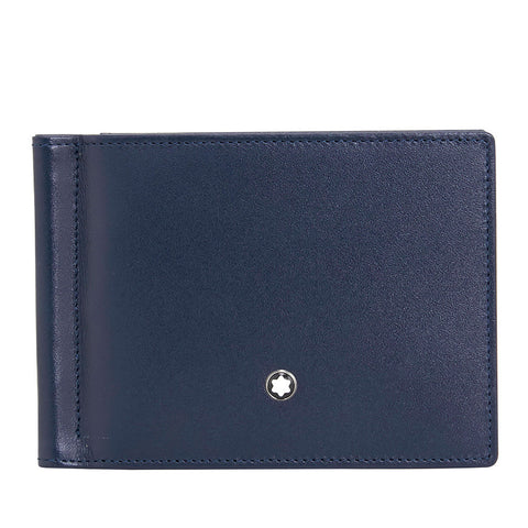Montblanc Meisterstuck 6 CC Leather Wallet with Money Clip - Navy 114548