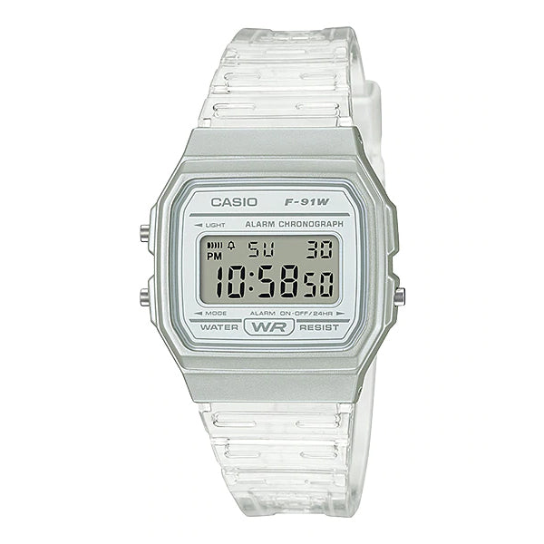Casio Digital Transparent Resin Band Watch F91WS-7D F-91WS-7