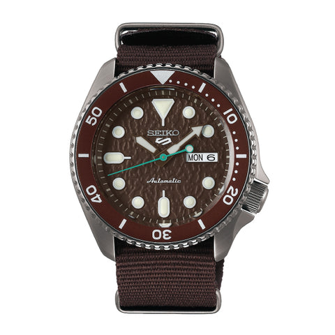 Seiko 5 Sports Automatic Brown Nylon Strap Watch SRPD85K1