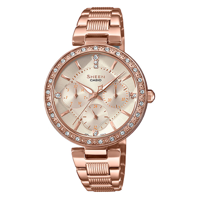 Casio Sheen Multi-Hand Series with Swarovski¨ Crystals Pink Gold Ion Plated Stainless Steel Band Watch SHE3068PG-4A SHE-3068PG-4A