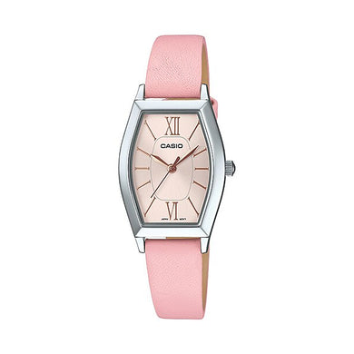 Casio Ladies' Analog Pink Leather Band Watch LTPE167L-4A LTP-E167L-4A