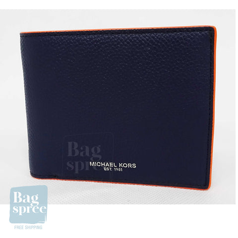 Michael Kors Cooper Billfold with Passcase Wallet Orange, Blue 36H9TCOF2L NAVY/BR ORG