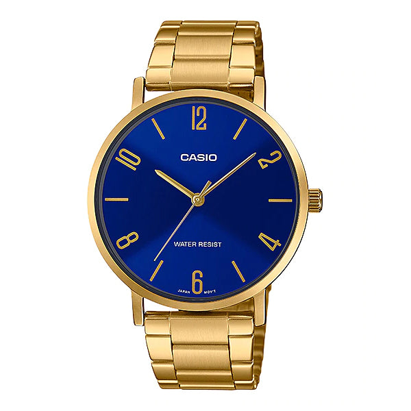 Casio Men's Analog Gold Ion Plated Stainless Steel Band Watch MTPVT01G-2B2 MTP-VT01G-2B2