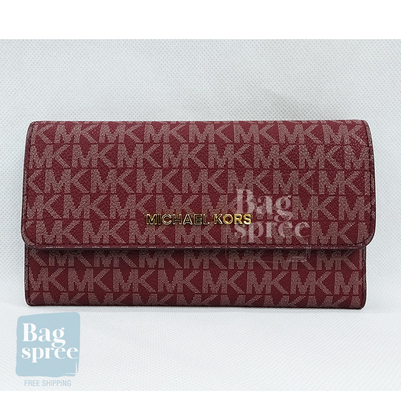 Michael Kors Jet Set Travel Large Logo Trifold Wallet Red 35F8GTVF3B OXBLOOD