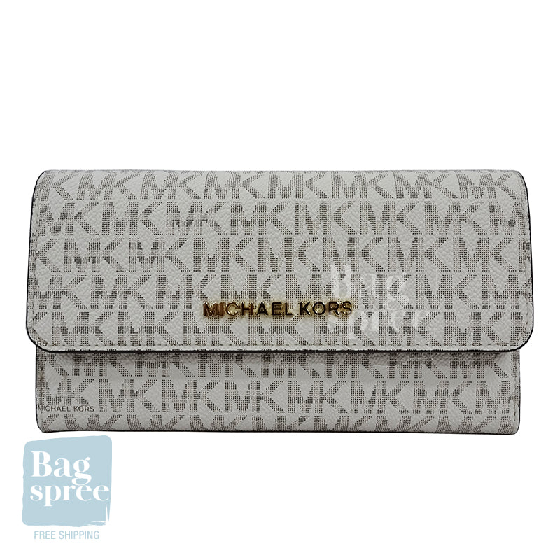 Michael Kors Jet Set Travel Large Logo Trifold Wallet White 35F8GTVF3B VANILLA