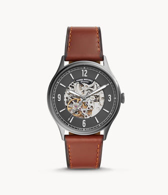 Fossil Men's Forrester Automatic Amber Leather Strap Watch ME3178