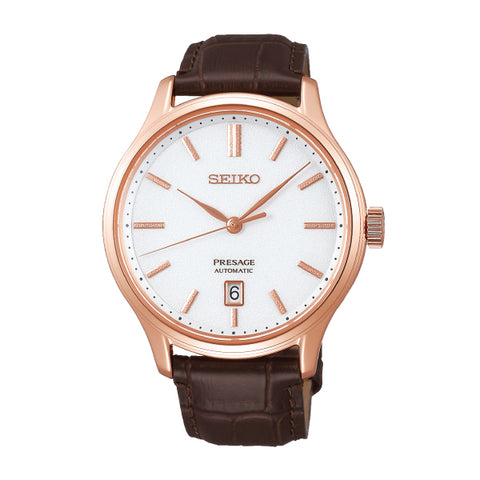 Seiko Presage Automatic Brown Calfskin Leather Strap Watch SRPD42J1 | Watchspree
