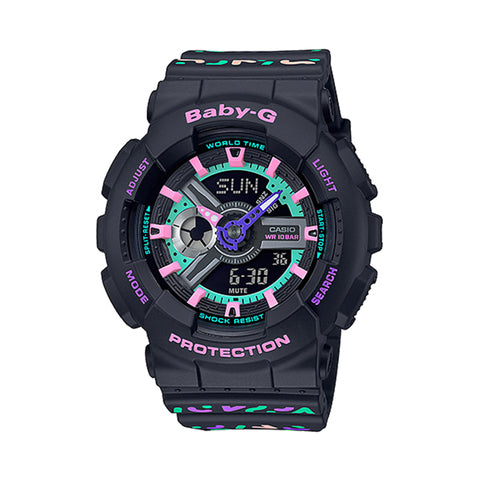 Casio Baby-G BA-110 Lineup Colourful Geometric Patterns Black Resin Band Watch BA110TH-1A BA-110TH-1A