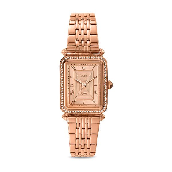 Fossil Ladies'  Lyric Three-Hand Rose Gold-Tone Stainless Steel Watch ES4720
