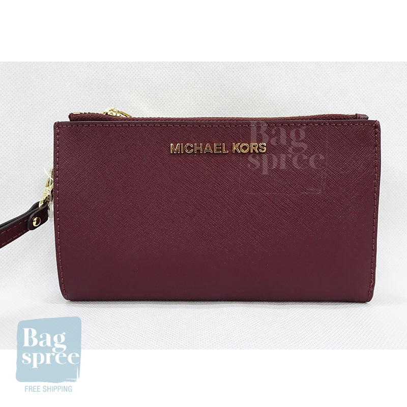 Michael Kors Jet Set Travel Large Double Zip Wristlet Red 35F8GTVW0L MERLOT