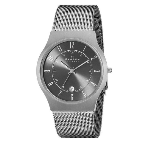 Skagen Men's Grenen Titanium and Grey Steel Mesh Watch 233XLTTM