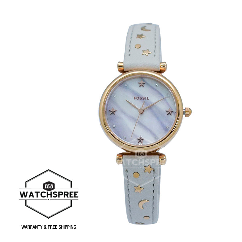 Fossil Ladies' Carlie Mini Three-Hand Winter White Leather Watch ES4526