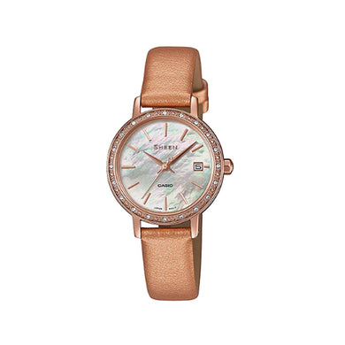 Casio Sheen with Swarovski® Crystals Metallic Rose Gold Leather Strap Watch SHE4060PGL-4A SHE-4060PGL-4A
