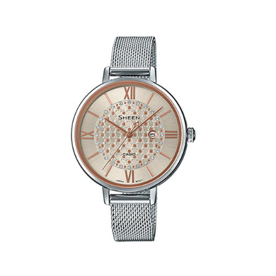 Casio Sheen with Swarovski® Crystals Stainless Steel Mesh Band Watch SHE4059M-4A SHE-4059M-4A