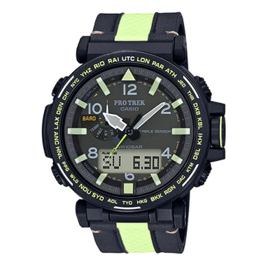 Casio Pro Trek PRG-650 Series Triple Sensor Tough Solar Two Tone Leather Strap Watch PRG650YL-3D PRG-650YL-3D PRG-650YL-3