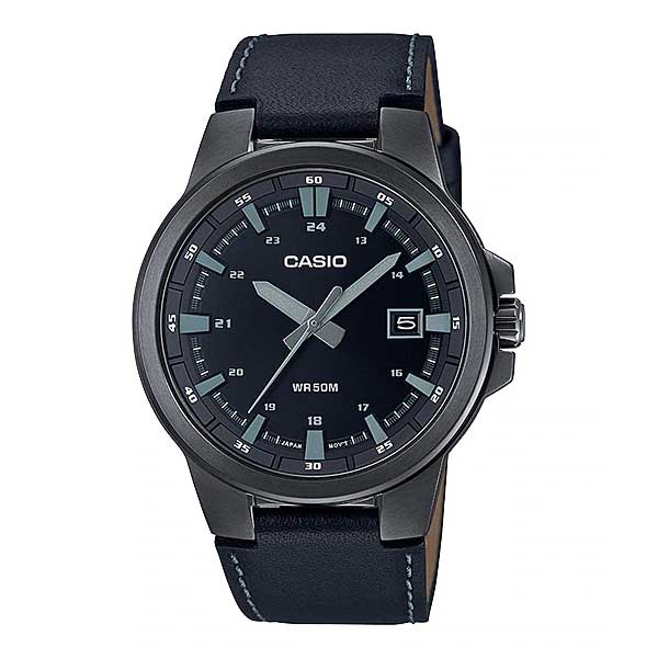 Casio Men's Analog Black Leather Strap Watch MTPE173BL-1A MTP-E173BL-1A