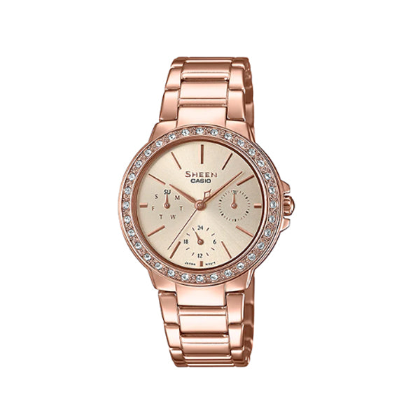 Casio Sheen with Swarovski® Crystals Rose Gold Ion Plated Stainless Steel Band Watch SHE3069PG-9A SHE-3069PG-9A
