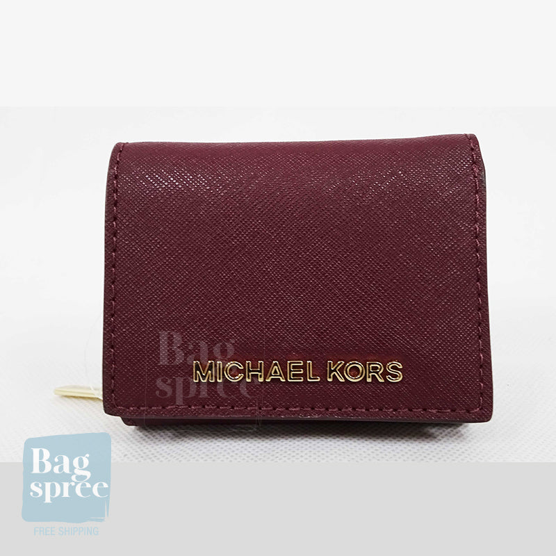 Michael Kors Jet Set Travel Small Multifold Zip Around Wallet Red 35H9GTVZ5L MERLOT