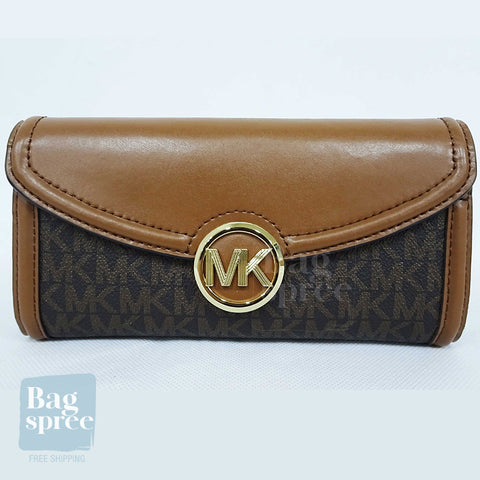 Michael Kors Fulton Large Flap Continental Wallet Brown 35F9GFTE3B BROWN
