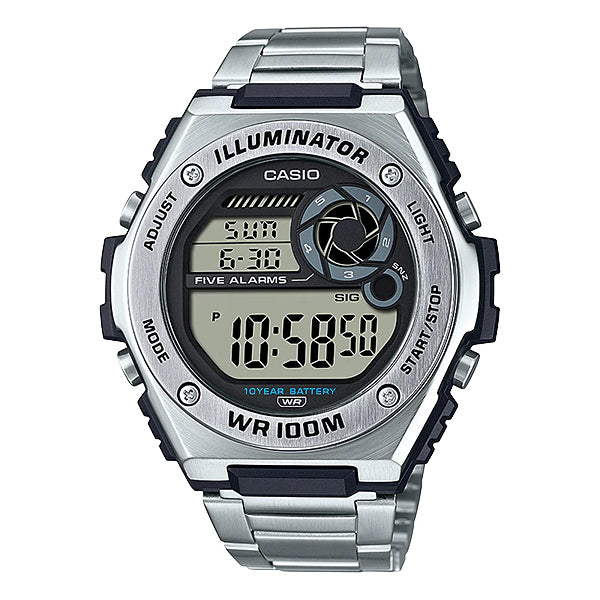 Casio Digital Stainless Steel Strap Watch MWD100HD-1A MWD-100HD-1A