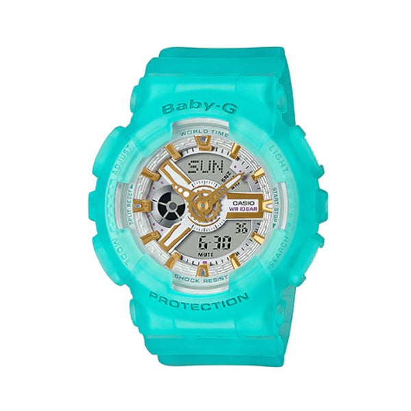 Casio Baby-G BA110 Series Special Colour Models Semi Transparent Blue Resin Band Watch BA110SC-2A BA-110SC-2A