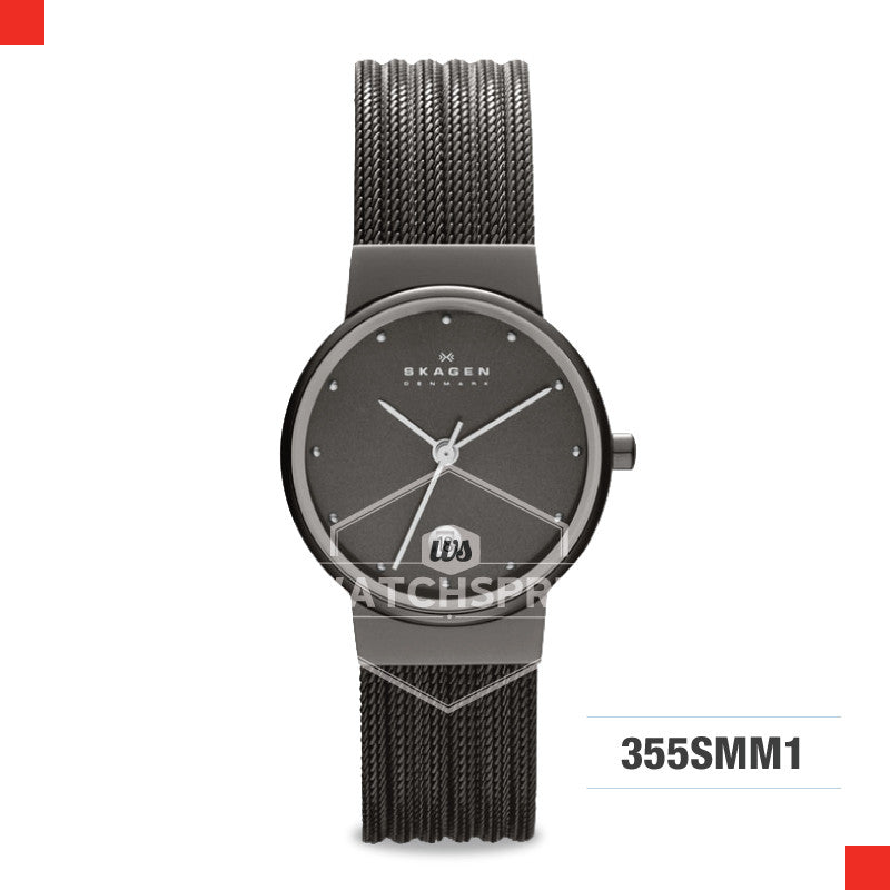 Skagen Ladies Ancher Black Striped Steel Mesh Watch 355SMM1