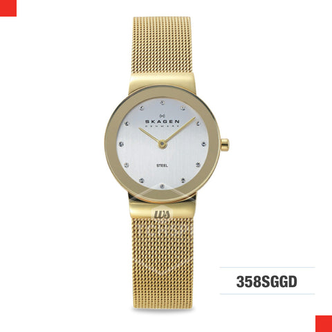Skagen Ladies Freja Gold tone Steel Mesh Watch 358SGGD
