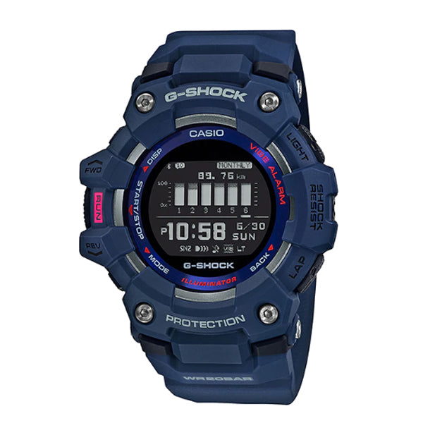 Casio G-Shock G-SQUAD Bluetooth® Blue Resin Band Watch GBD100-2D GBD-100-2