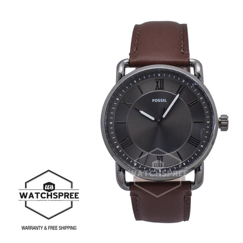 Fossil Men's Copeland 42mm Three-Hand Brown Leather Watch FS5664 | Watchspree