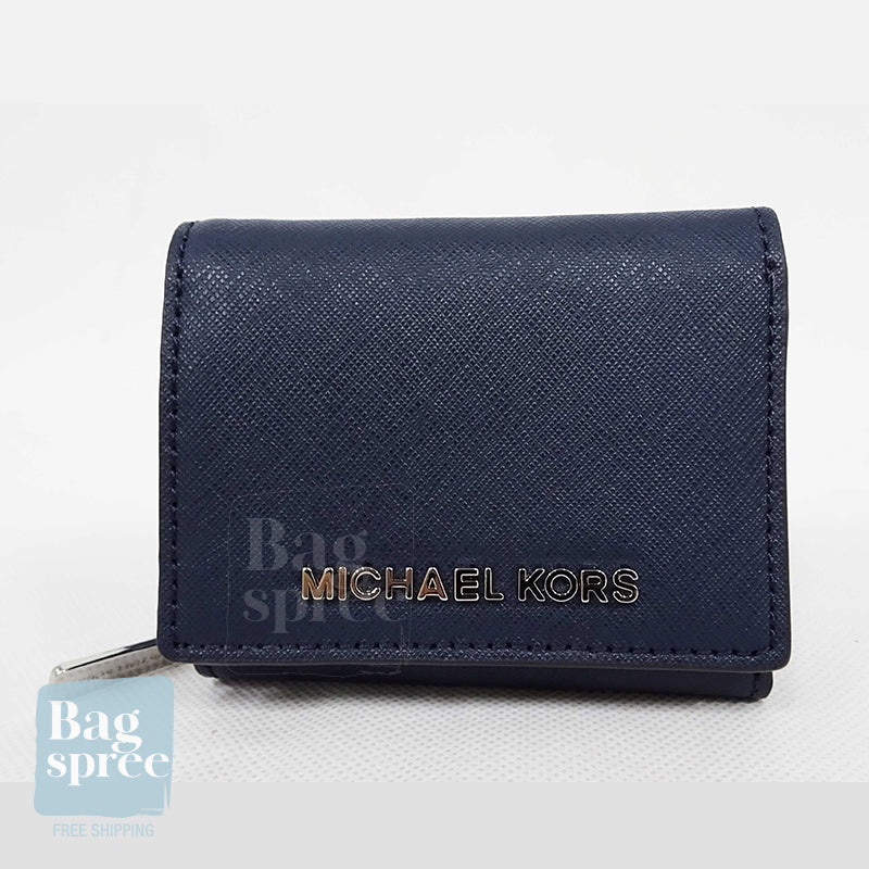 Michael Kors Jet Set Travel Small Multifold Zip Around Wallet Navy 35H9STVZ5L NAVY