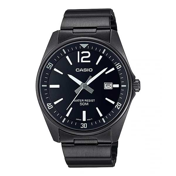 Casio Men's Analog Black Ion Plated Stainless Steel Band Watch MTPE170B-1B MTP-E170B-1B