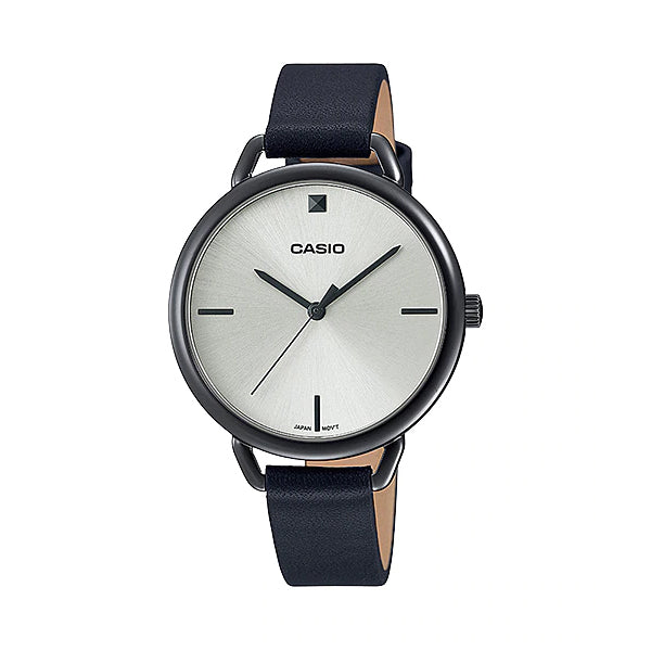 Casio Ladies' Analog Black Leather Strap Watch LTPE415GRL-1C LTP-E415GRL-1C