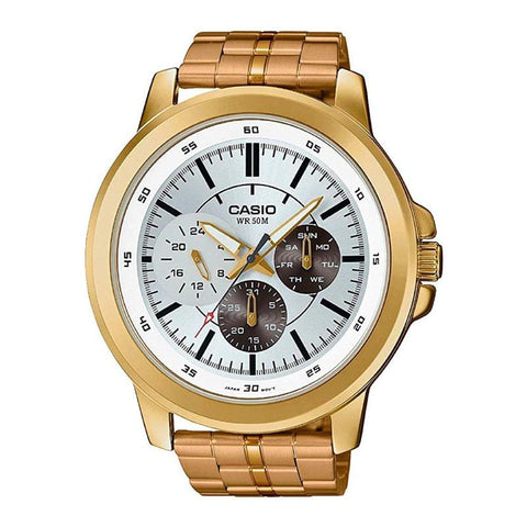 Casio Men's Standard Analog Gold Ion Plated Stainless Steel Band Watch MTPX300G-7E MTP-X300G-7E