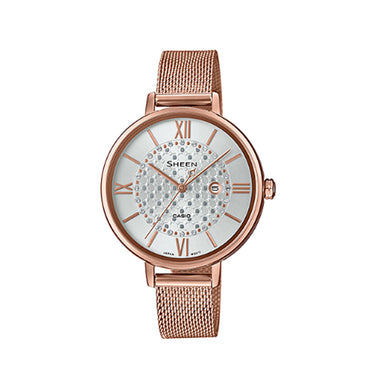 Casio Sheen with Swarovski® Crystals Rose Gold Ion Plated Stainless Steel Mesh Band Watch SHE4059PGM-7A SHE-4059PGM-7A