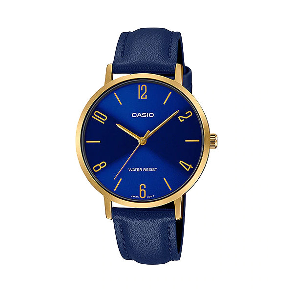 Casio Ladies' Analog Blue Leather Strap Watch LTPVT01GL-2B LTP-VT01GL-2B