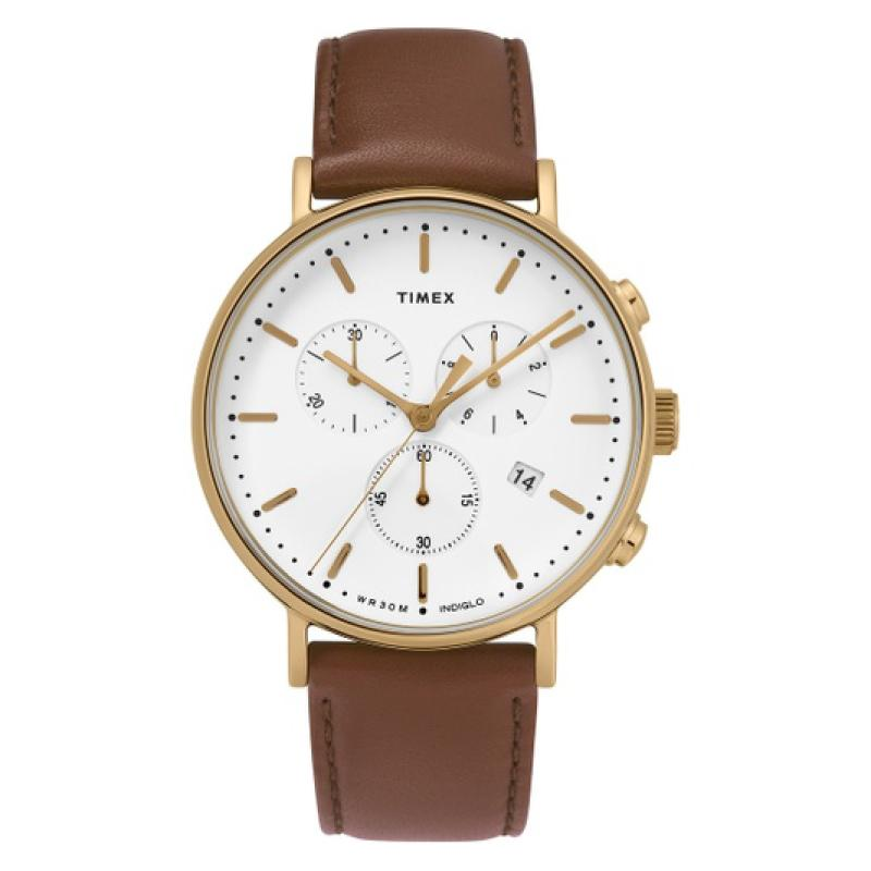 Timex Men's Fairfield Chronograph 41mm Leather Strap Watch TW2T32300