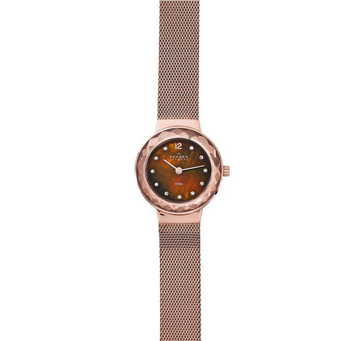 Skagen Ladies' Leonora Rose Gold-Tone Steel Mesh Watch 456SRR1