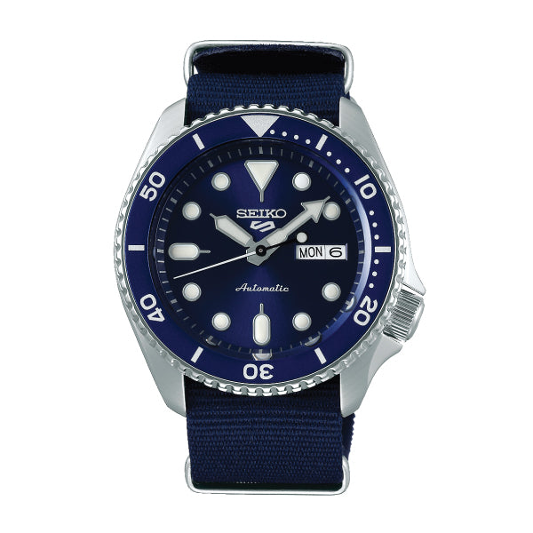 Seiko 5 Sports Automatic Navy Blue Nylon Strap Watch SRPC87K1