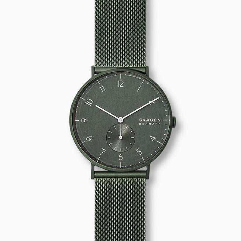 Skagen Men's Aaren Matte Green Steel Mesh 40mm Watch SKW6534