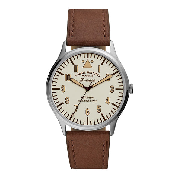 Fossil Men's Forrester Three-Hand Brown Leather Watch FS5629