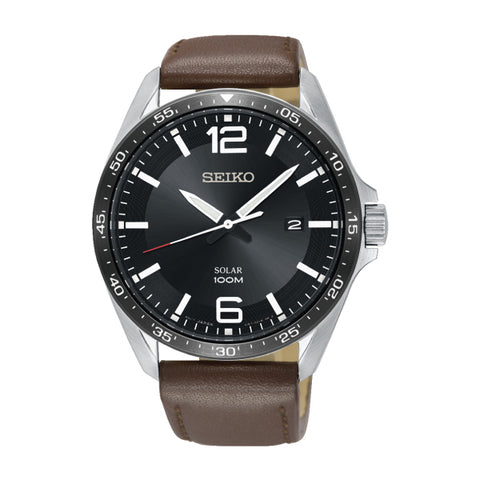 Seiko Solar Brown Leather Strap Watch SNE487P1 | Watchspree