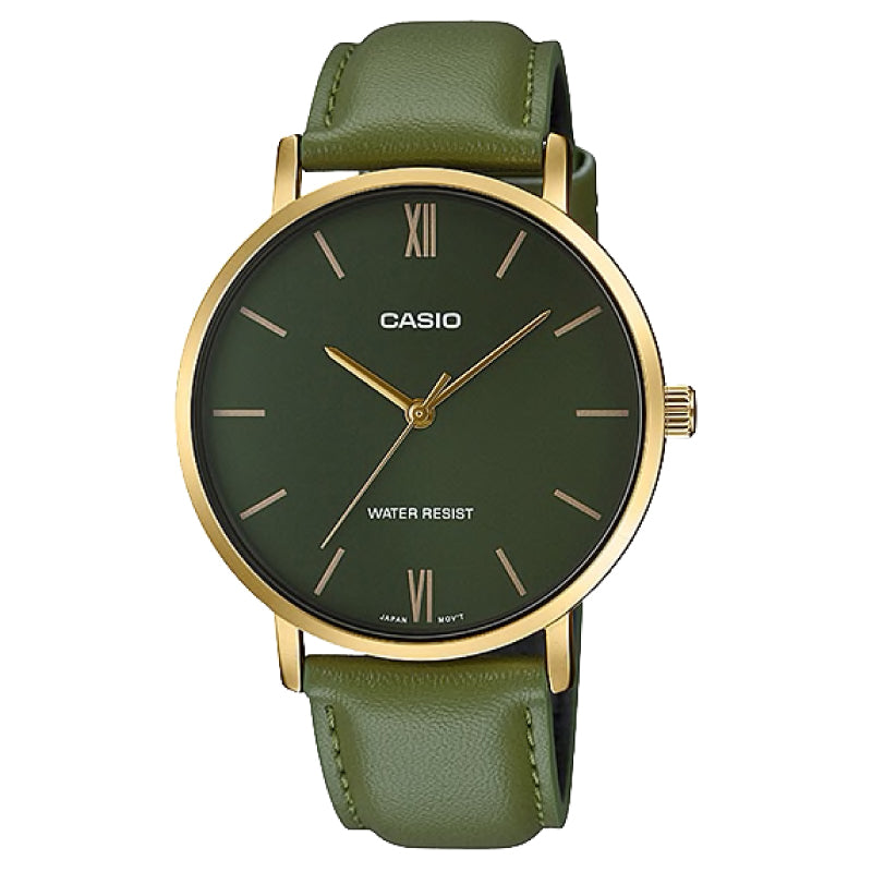 Casio Men's Analog Green Leather Strap Watch MTPVT01GL-3B MTP-VT01GL-3B
