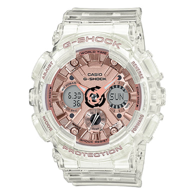 Casio G-Shock S Series GA-120 Lineup Transparent x Rose Gold Resin Band Watch GMAS120SR-7A GMA-S120SR-7A